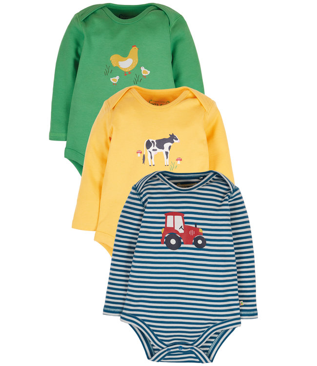 Frugi Baby Body 3er Pack Bauernhof