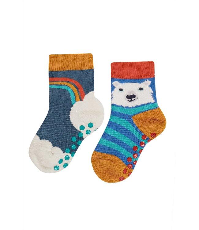 Frugi Kleinkinder Socken 2er Grippy Ink/Rainbow