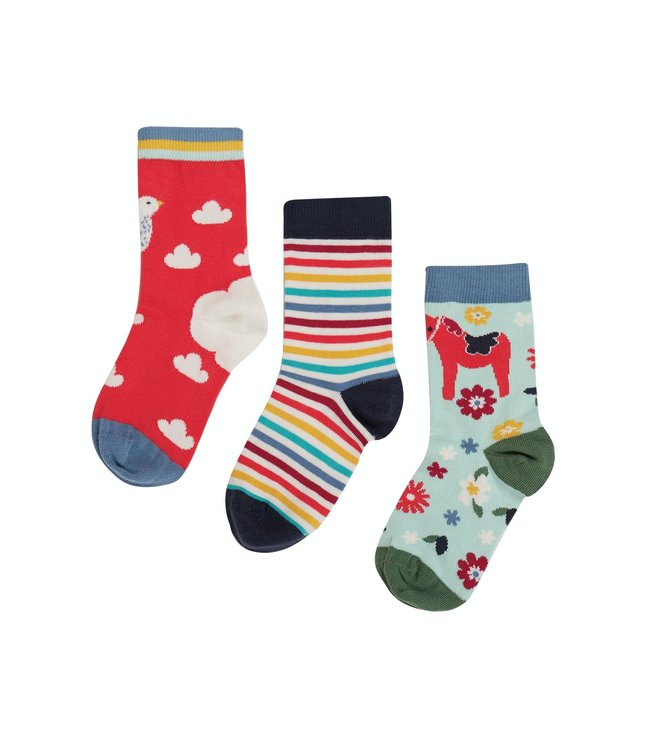 Frugi Mädchen Socken 3er Pack Watermelon/Ptarmigan