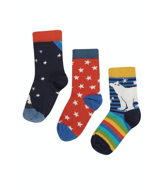Frugi Kinder Socken 3er Pack Northern Light