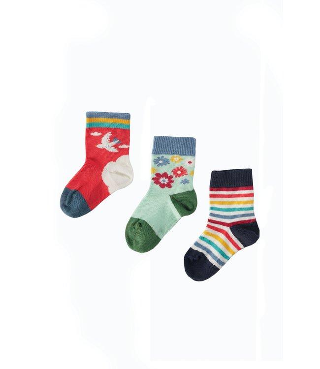 Frugi Kleinkinder Socken 3er Pack Sky/Dala Horse