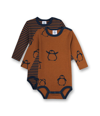 Sanetta Baby Body 2er Pack langarm Ringel Pinguin