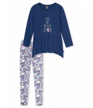 Schiesser Mädchen Schlafanzug lang blau