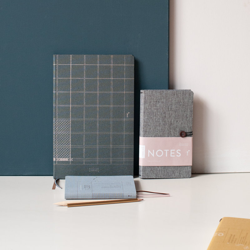 Linen notebook A4 - lined - Indigo