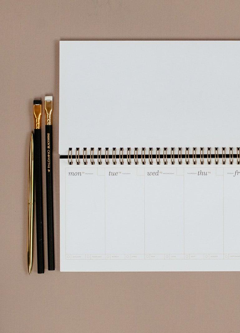 Desk Planner - 13 x 29cm - weekly overview - Noir