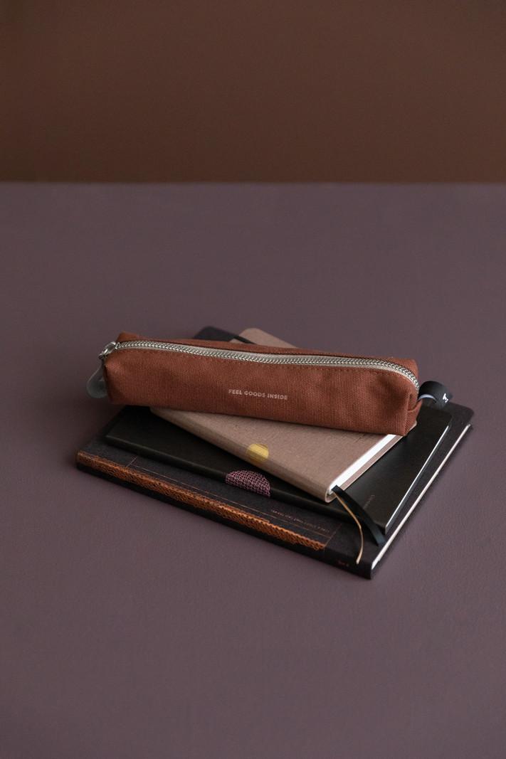 Etui Small - cotton - 18x5x3cm - Chocolate