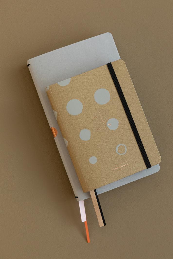 Linnen Adresboek - dotted grid - Mustard