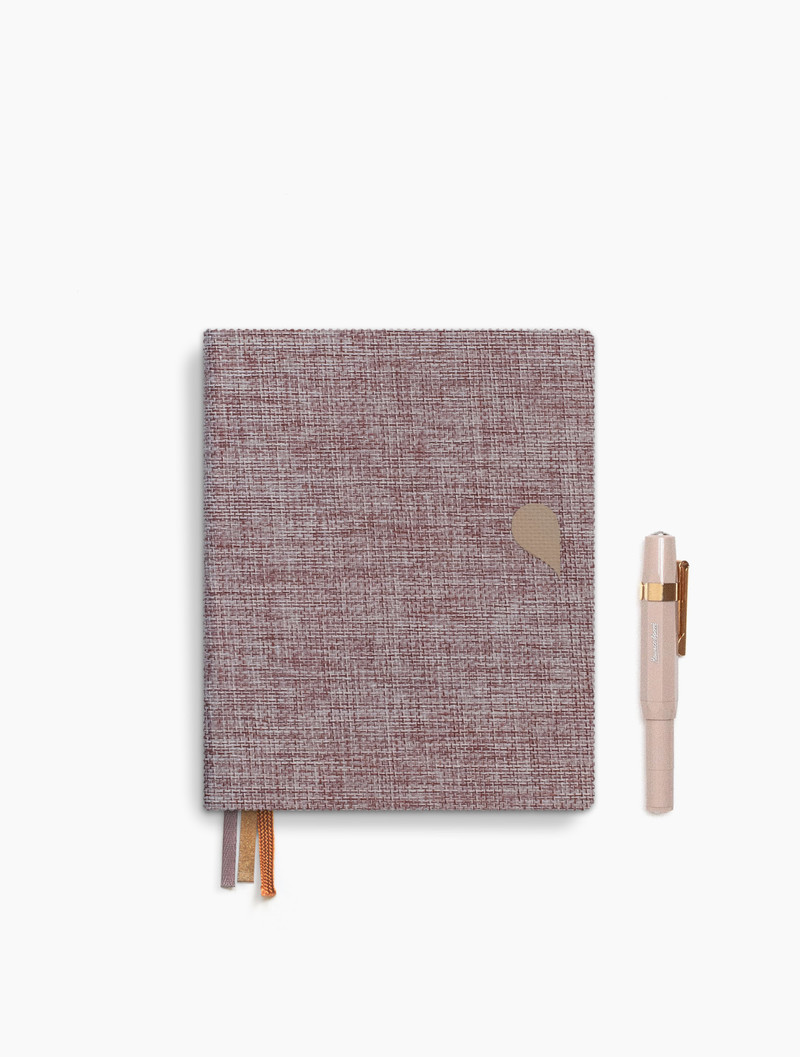 Linen notebook A6 - dotted grid / lined - Rose dust