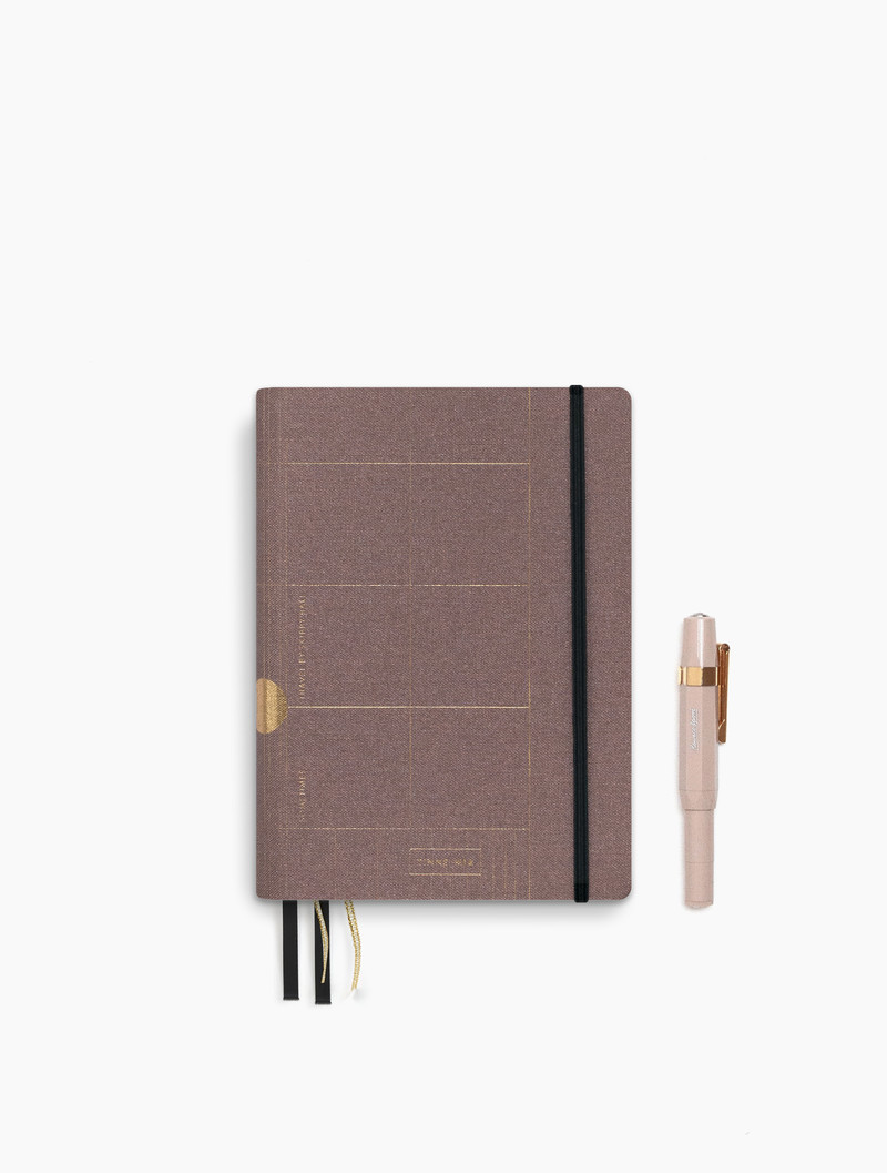 Linen travel Journal - dotted grid - Old Pink