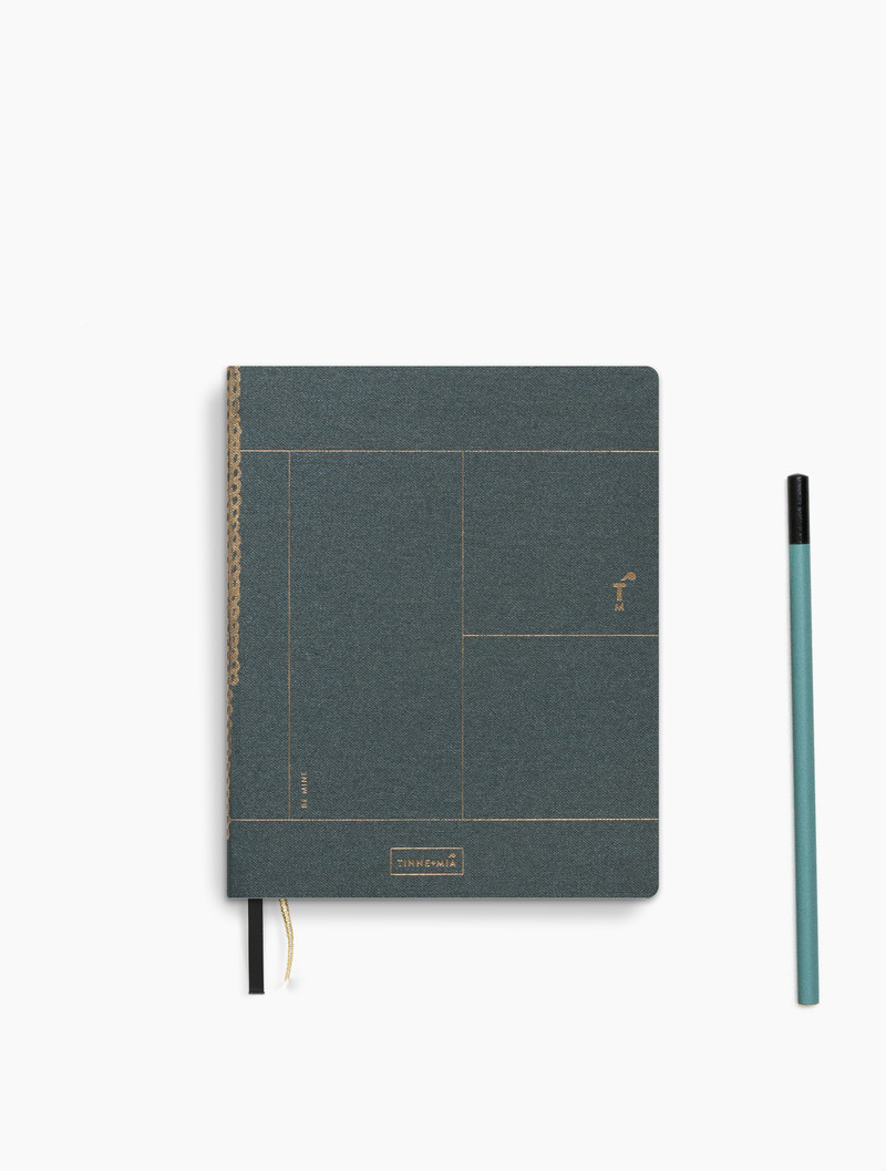 Linen notebook A6 - dotted grid / lined - Forest Green