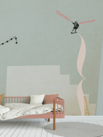 Kids wallpaper Mural - I think I can fly - blue