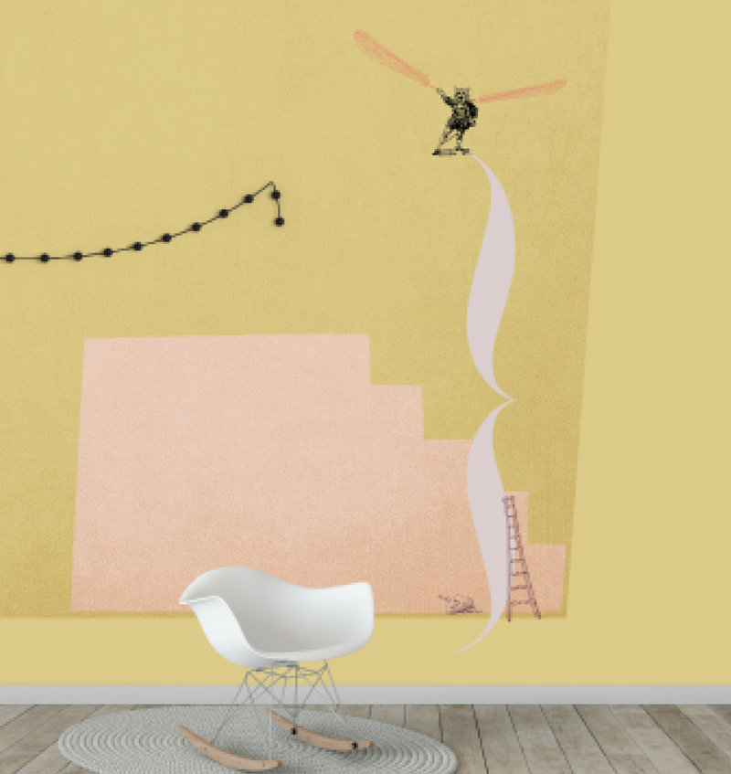 Kids wallpaper Mural - I think I can fly - yellow