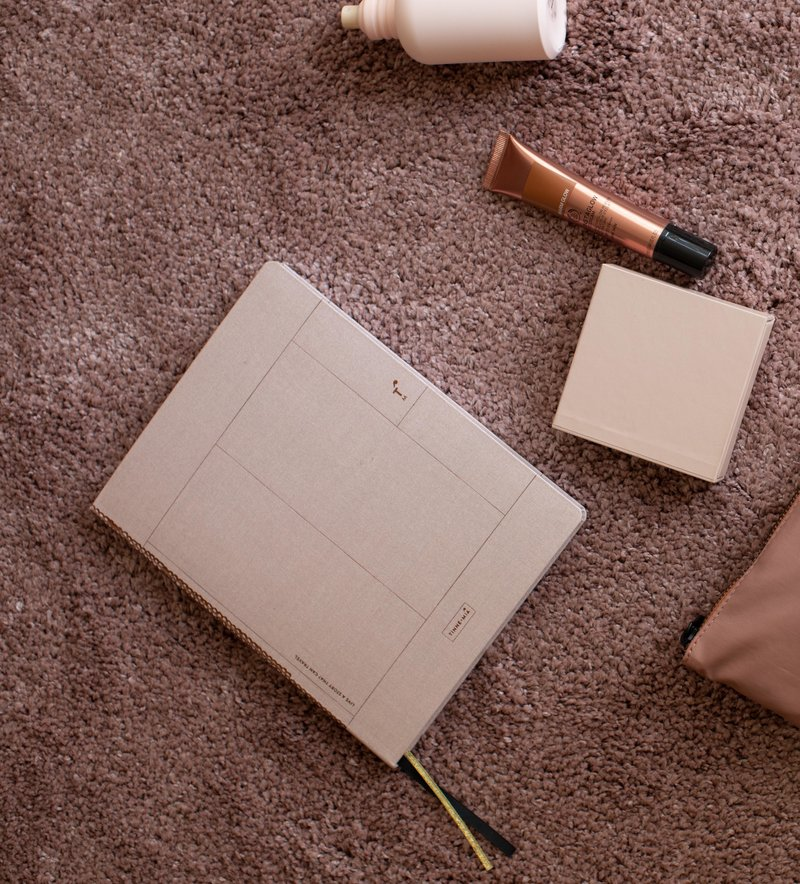 Linen notebook A5, dotted grid / gelinieerd - Rose Pale
