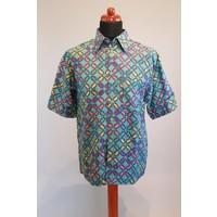 Batik overhemd turquoise korte mouw