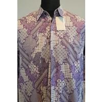 Batik overhemd paars lange mouw