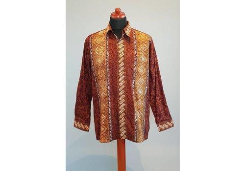 Batik overhemd bruin lange mouw