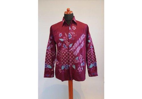 Batik overhemd bordeaux lange mouw