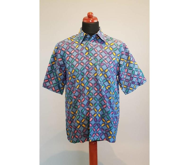 Batik overhemd blauw korte mouw