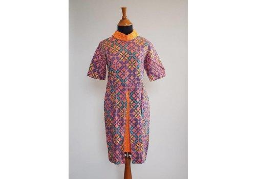 Batik tuniek oranje paars