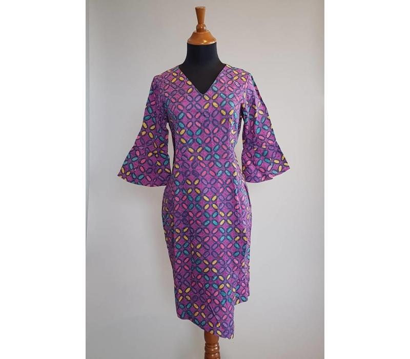 Batik tuniek violet 3/4 mouw