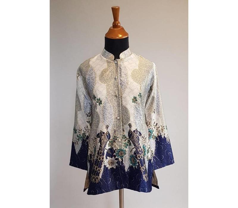 Batik blouse grijs