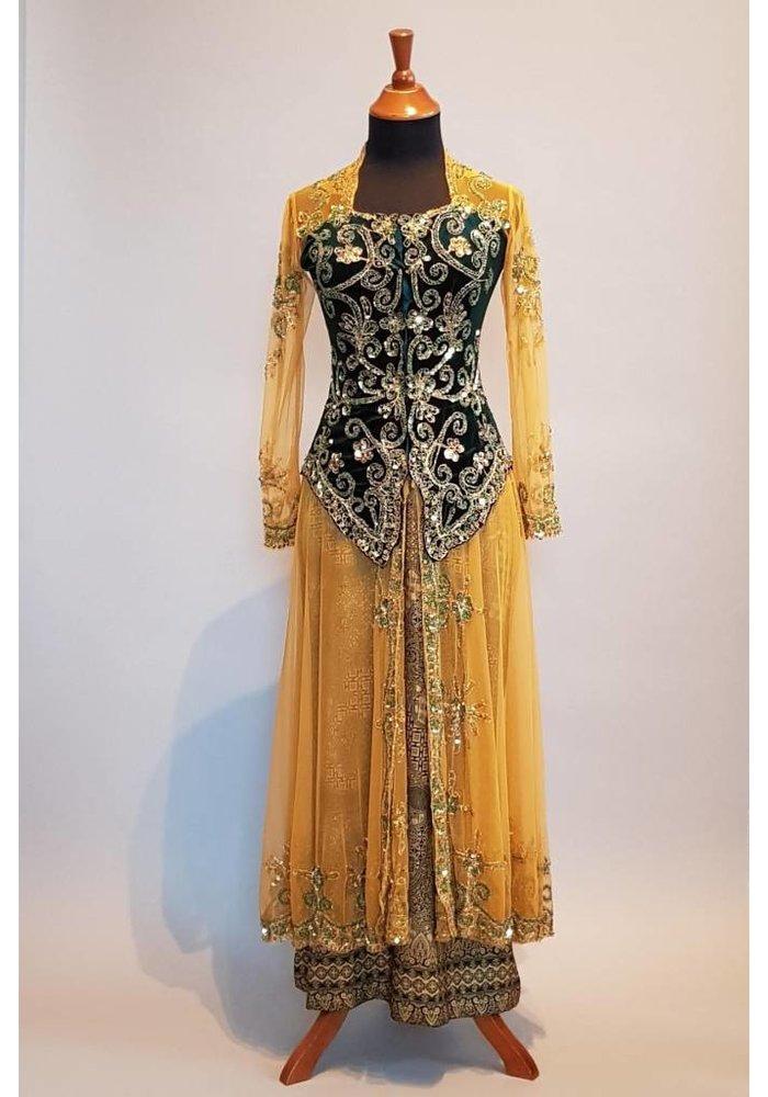 Bruidskebaya goud met bijpassende sarong