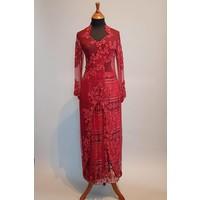 Bruidskebaya bordeaux met bijpassende sarong