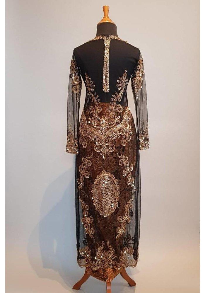 Bruidskebaya glamour zwart met bijpassende sarong