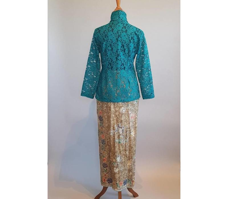 Kebaya kutubaru donker turquoise met bijpassende sarong