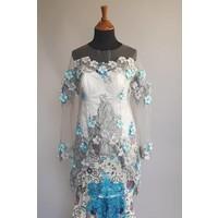 Bruids kebaya elegant turquois met bijpassende zeemeermin sarong