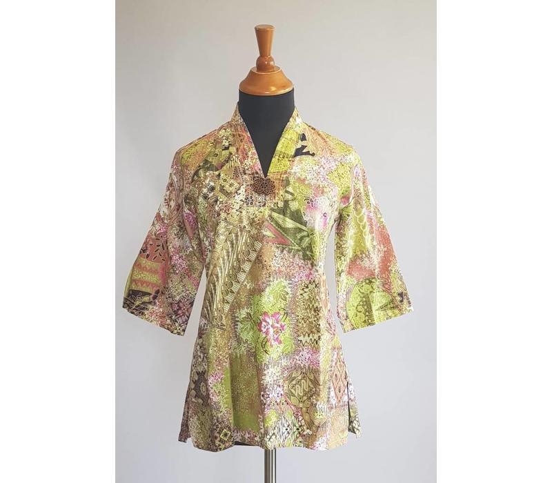 Batik blouse lemon groen