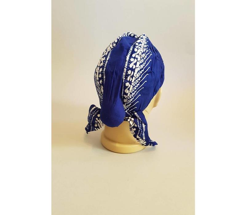Batik muts blauw