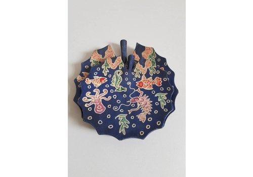 Setje batik borden donker blauw