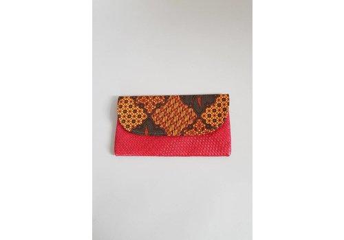 Batik clutch rood