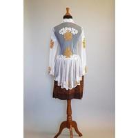 Kebaya glamour wit goud met bijpassende korte sarong