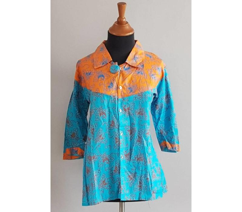 Batik blouse oranje blauw