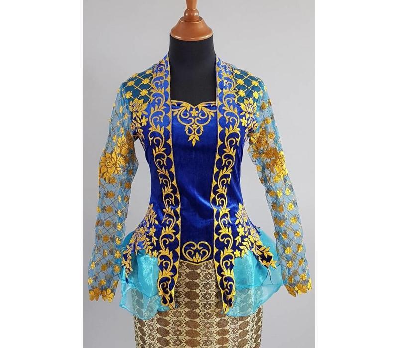 Kebaya modern blauw goud met bijpassende sarong