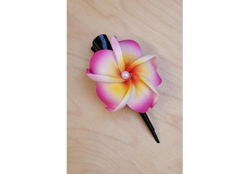 Haarklem frangipani fuchsia