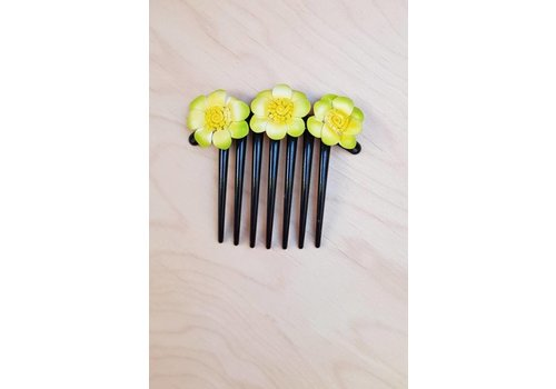 Haarklem bloemetjes licht groen