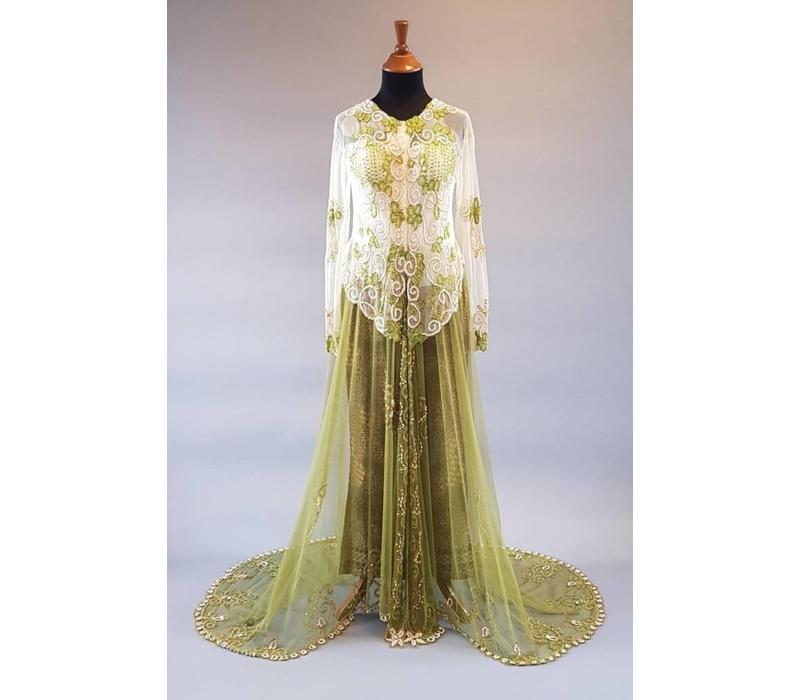 Bruids kebaya olijfgroen met bijpassende sarong & sleep