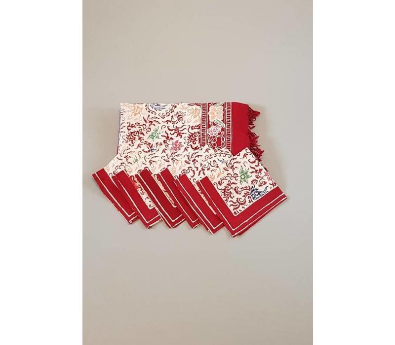 Batik tafelkleed rood met bijpassende 6 servetjes