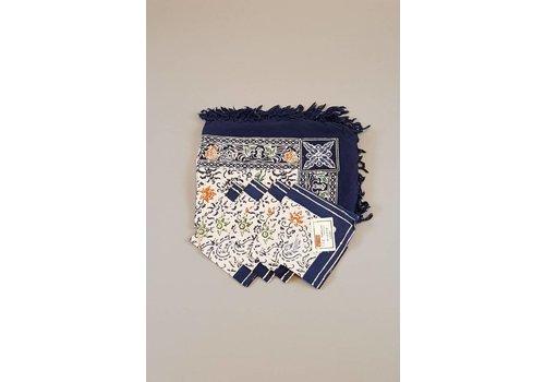 Batik tafelkleed donker blauw met bijpassende 4 servetjes
