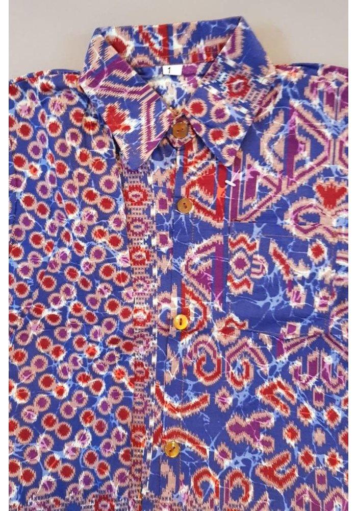 Kinder batik overhemd paars