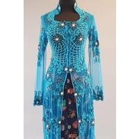 Bruids kebaya petrol blue met bijpassende sarong