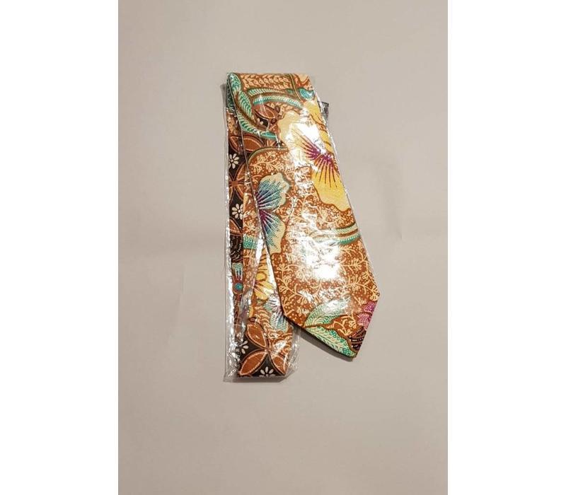 Batik stropdas bruin