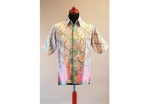 Batik overhemd korte mouw licht turquoise