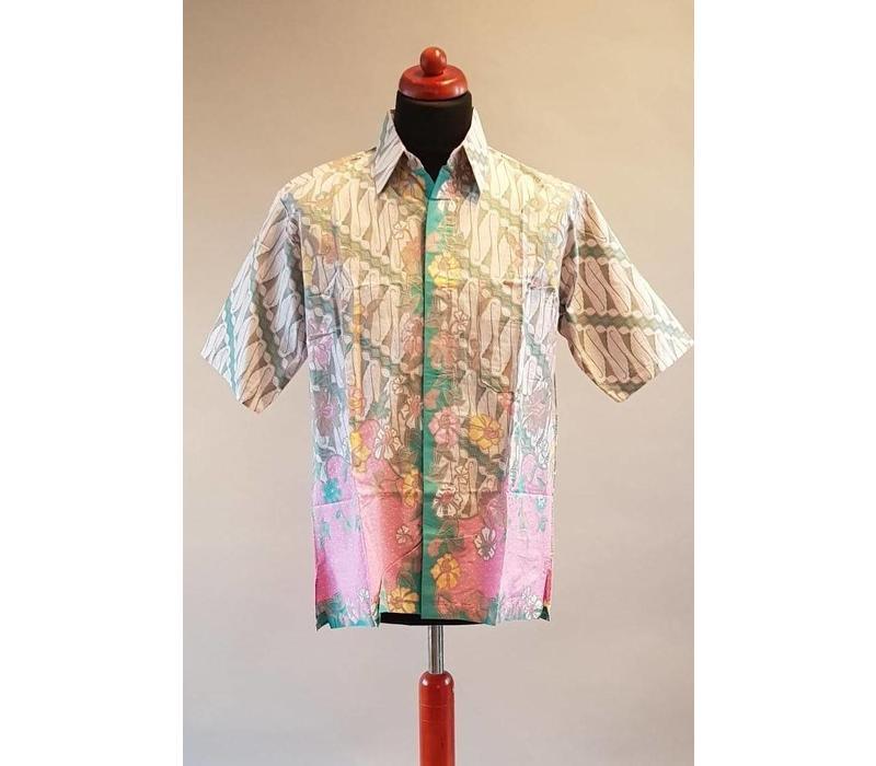 Overhemd Batik Mouw Turquoise Korte Aryani Collection Licht XZOuiPk