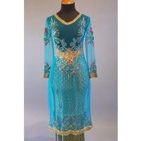 Kebaya glamour turquoise met bijpassende sarong plissé