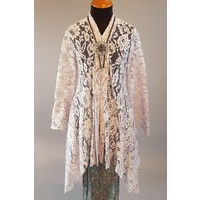 Kebaya elegant grijs met bijpassende sarong plissé