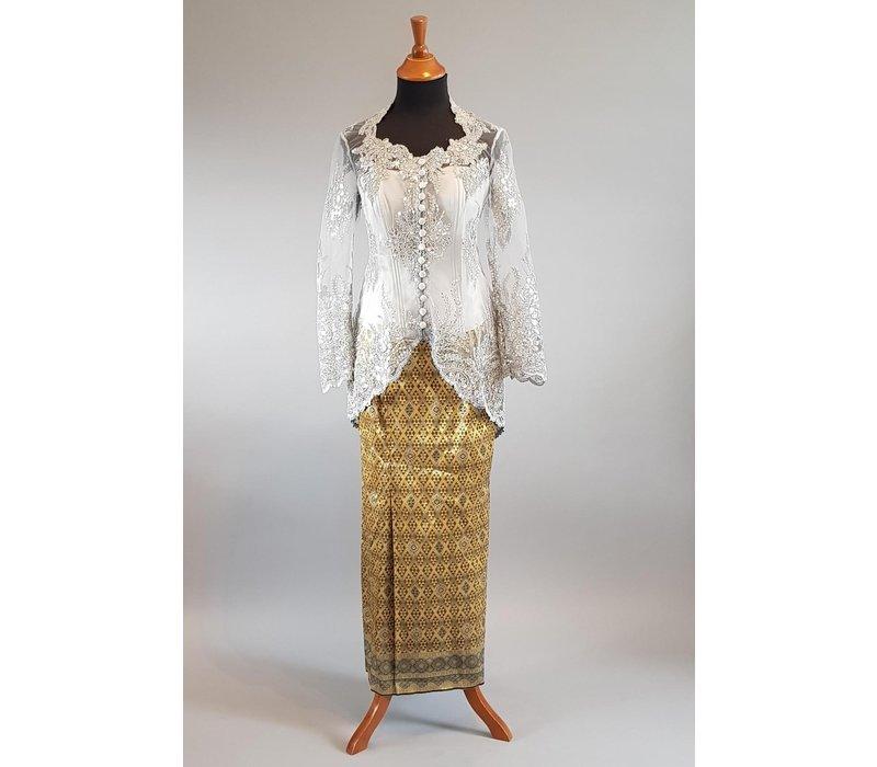 Kebaya elegant zilver grijs met bijpassende sarong & bustier
